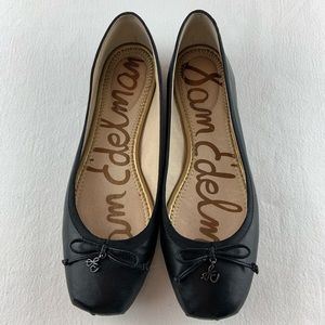 SAM EDELMAN Dominica Black Leather Flats Size 7.5M